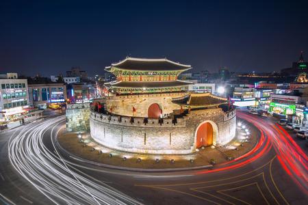 Hwaseong fortress and car light in Suwon,Korea Editorial