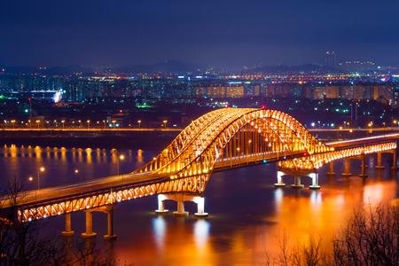Banghwa bridge at night,Korea Stock Photo