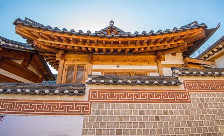 korean style house: Bukchon Hanok Village,Traditional Korean style architecture in Seoul,Korea Stock Photo