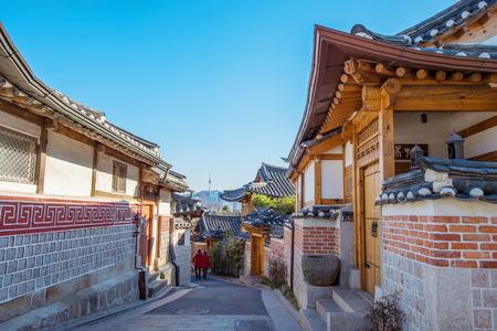 Bukchon Hanok Village,Traditional Korean style architecture in Seoul,Korea photo