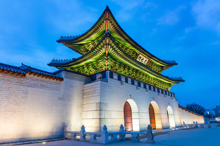south korea: Gyeongbokgung palace at night in Seoul, South Korea. Editorial