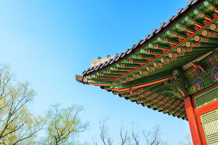 Roof of Gyeongbokgung palace in Seoul, Korea Editorial