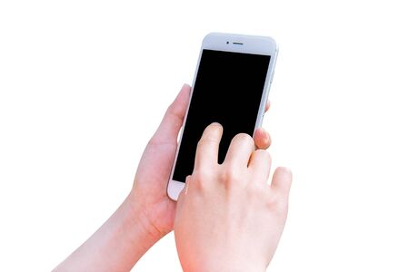 hand holding smart phone: Hand holding smart phone isolated on white background.