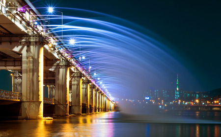 Rainbow fountain show at Banpo Bridge in Seoul, South Korea.