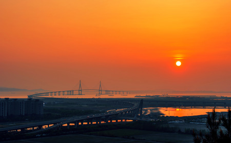 incheon: incheon bridge at sunset in korea Stock Photo