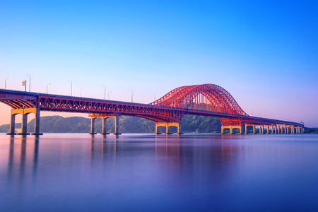 steel arch bridge: Banghwa bridge and han river in Seoul,Korea Stock Photo