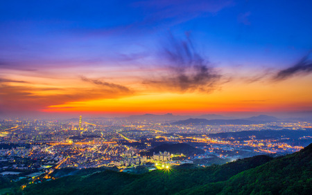 best travel destinations: South Korea skyline of Seoul, The best view of South Korea with Lotte world mall at Namhansanseong Fortress. Editorial