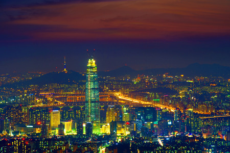 South Korea skyline of Seoul, The best view of South Korea with Lotte world mall at Namhansanseong Fortress. Editorial