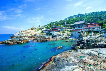 Haedong Yonggungsa Temple and Haeundae Sea in Busan, South Korea. Stock Photo