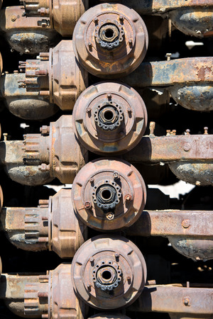 chassis: The old chassis with rust. Stock Photo