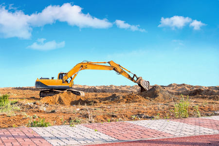 Excavator on a construction site. Stock Photo