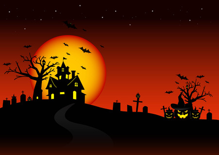horror house: Halloween night and the moon background.