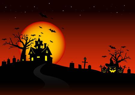 silhouette maison: Soir de l'Halloween et le fond de la lune. Illustration