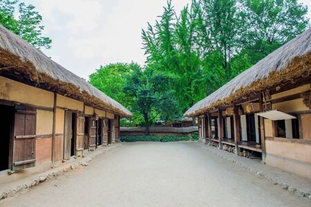 folk village: Korean Folk Village,Traditional Korean style architecture in Suwon,Korea Stock Photo