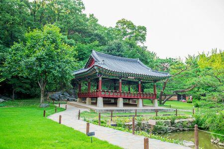 Korean Folk Village,Traditional Korean style architecture in Suwon,Korea Stock Photo