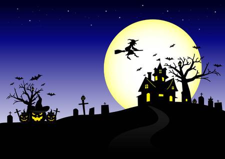 ハロウィーンの夜と月 background.vector