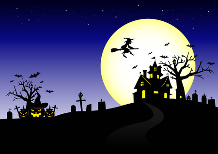 Halloween night and the moon background.vector