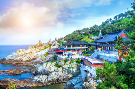Haedong Yonggungsa Temple and Haeundae Sea in Busan, South Korea. Редакционное