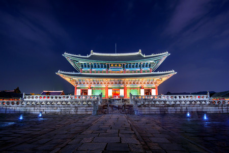 Gyeongbokgung Palace and Milky Way at night in seoul,Korea.