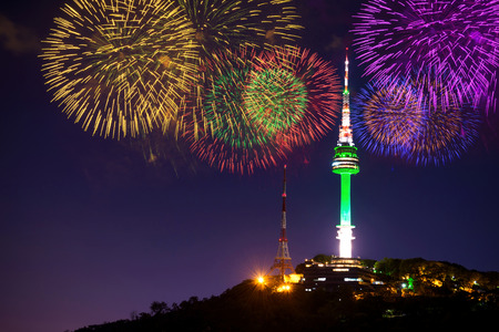 Seoul tower and firework in korea.