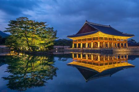 Gyeongbokgung Palace at night in seoul,Korea. Editorial