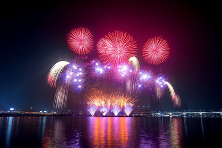한국에서 불꽃 축제. 스톡 콘텐츠