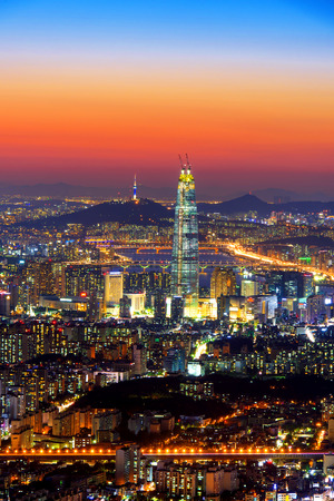 south korea: South Korea skyline of Seoul, The best view of South Korea with Lotte world mall at Namhansanseong Fortress. Editorial