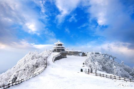 Deogyusan bergen bedekt door sneeuw en ochtendmist in de winter, Zuid-Korea.