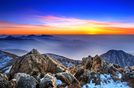 winter park: Beautiful Landscape at sunset on Deogyusan National Park in winter,South Korea.