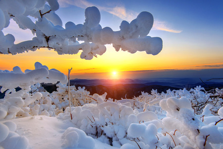 winter sunrise: Sunrise on Deogyusan mountains covered with snow in winter,South Korea. Stock Photo