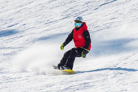 resort: DEOGYUSAN,KOREA - JANUARY 1: Skier skiing on Deogyusan Ski Resort in winter,South Korea on January 1, 2016. Editorial