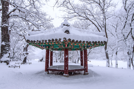 gyeongbokgung: Landscape in Winter with falling snow in Seoul,South Korea. Stock Photo