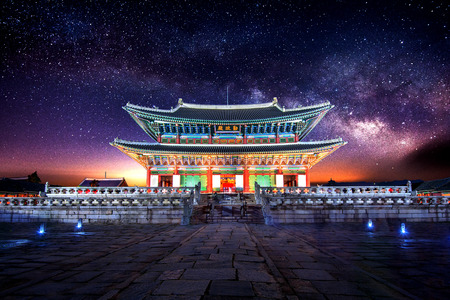Gyeongbokgung palace and Milky Way in Seoul, South Korea. Editorial