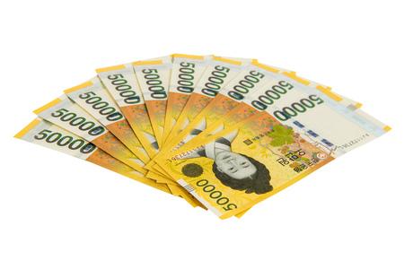 Zuid-Koreaanse Won Valuta. Stockfoto