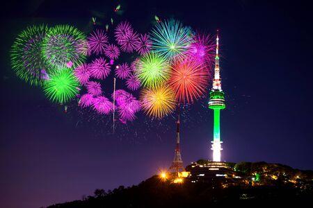 Seoul tower and firework festival in korea.