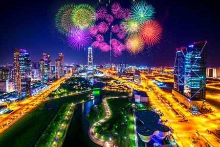 incheon: Firework festival at Central Park in Incheon, South Korea. Central Park is the green space plan,inspired by NYC.
