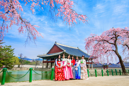 hanbok: SEOUL, SOUTH KOREA - APRIL 6: Gyeongbokgung Palace with cherry blossom in spring and tourists with Hanbok dress on April 6, 2016 in Seoul, South Korea.