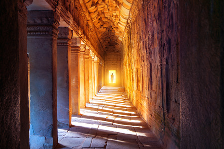 The monks in Angkor Wat, Siam Reap, Cambodia. Stock Photo