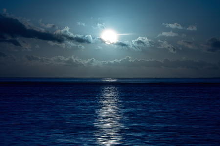 water reflection: Moon on the sea. Stock Photo