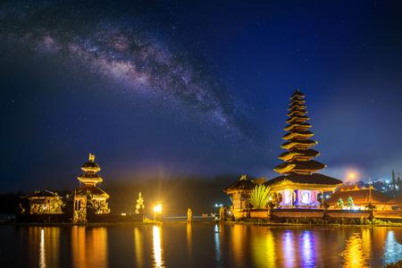 pura ulun danu bratan temple at night in Bali, indonesia.