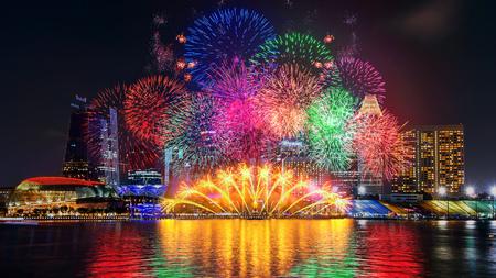 싱가포르에서 불꽃 놀이. 스톡 콘텐츠 - 82933827