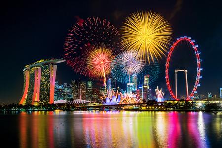 Exhibición del fuego artificial en Singapur. Foto de archivo - 84076903