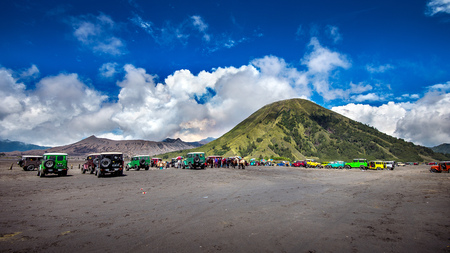 Java,Indonesia-Arpil 24,2017 : Tourists 4x4 Jeep for tourist rent at Mount Bromo in East Java , Indonesia.