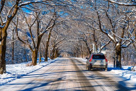 no skid: Car on road in winter, Seoraksan in South Korea.
