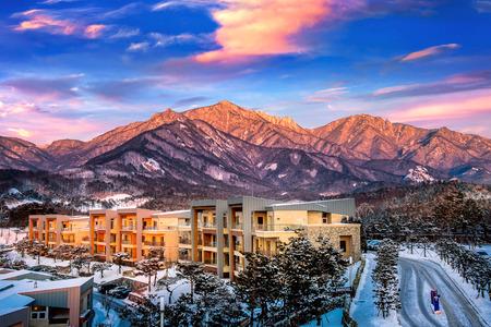 Seoraksan mountains in winter, South Korea. Stock Photo
