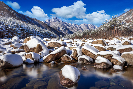 Seoraksan mountains is covered by snow in winter, South Korea. 免版税图像