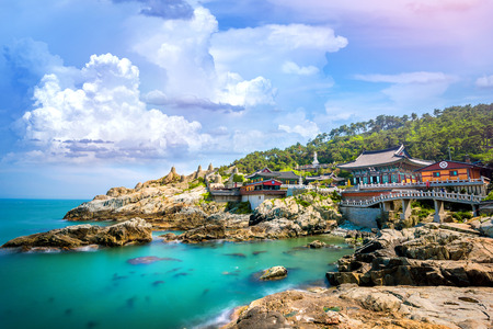 Haedong Yonggungsa Temple and Haeundae Sea in Busan, South Korea. Stok Fotoğraf