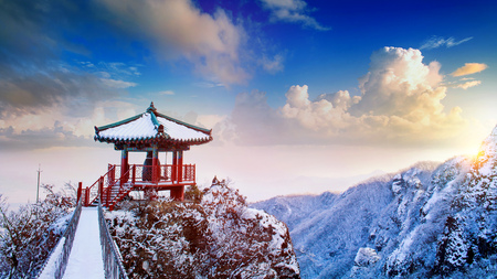 Landscape in winter,Guemosan in korea.