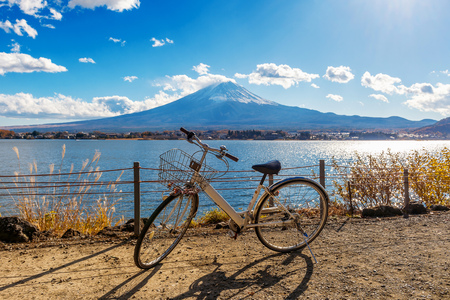 Bicycle at Kawaguchiko and fuji mountain, Japan.