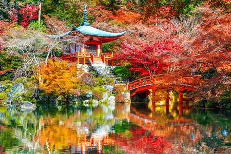 Daigoji temple in autumn, Kyoto. Japan autumn seasons. Stok Fotoğraf - 92233923